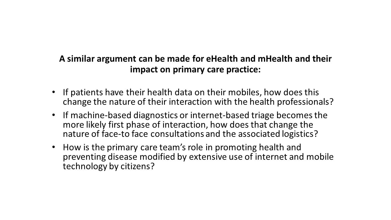 A similar argument can be made for eHealth and mHealth and their impact on primary care practice: