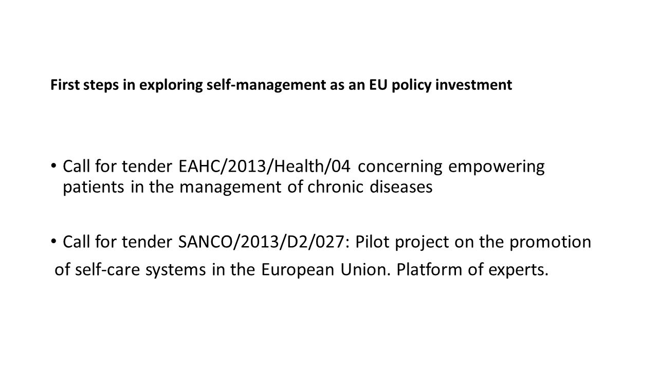 First steps in exploring self-management as an EU policy investment