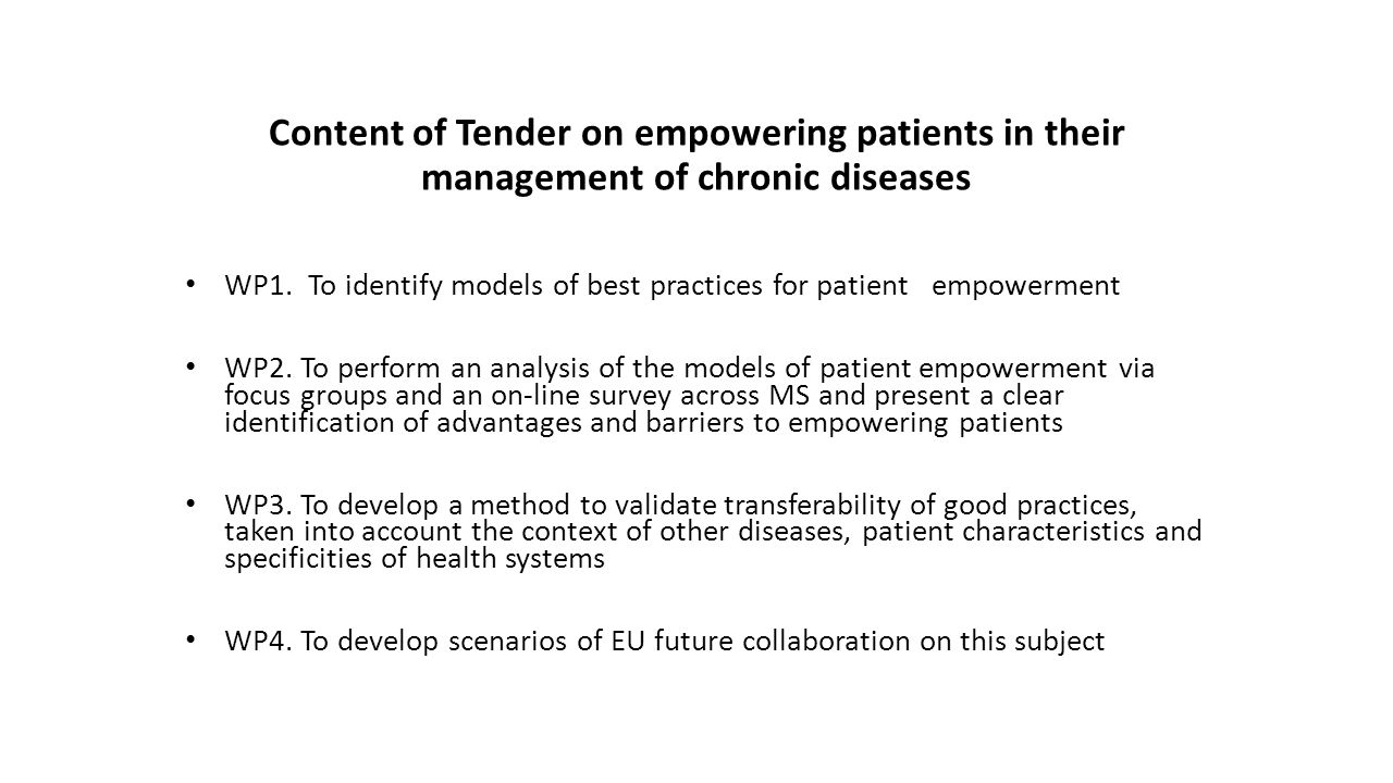 Content of Tender on empowering patients in their management of chronic diseases