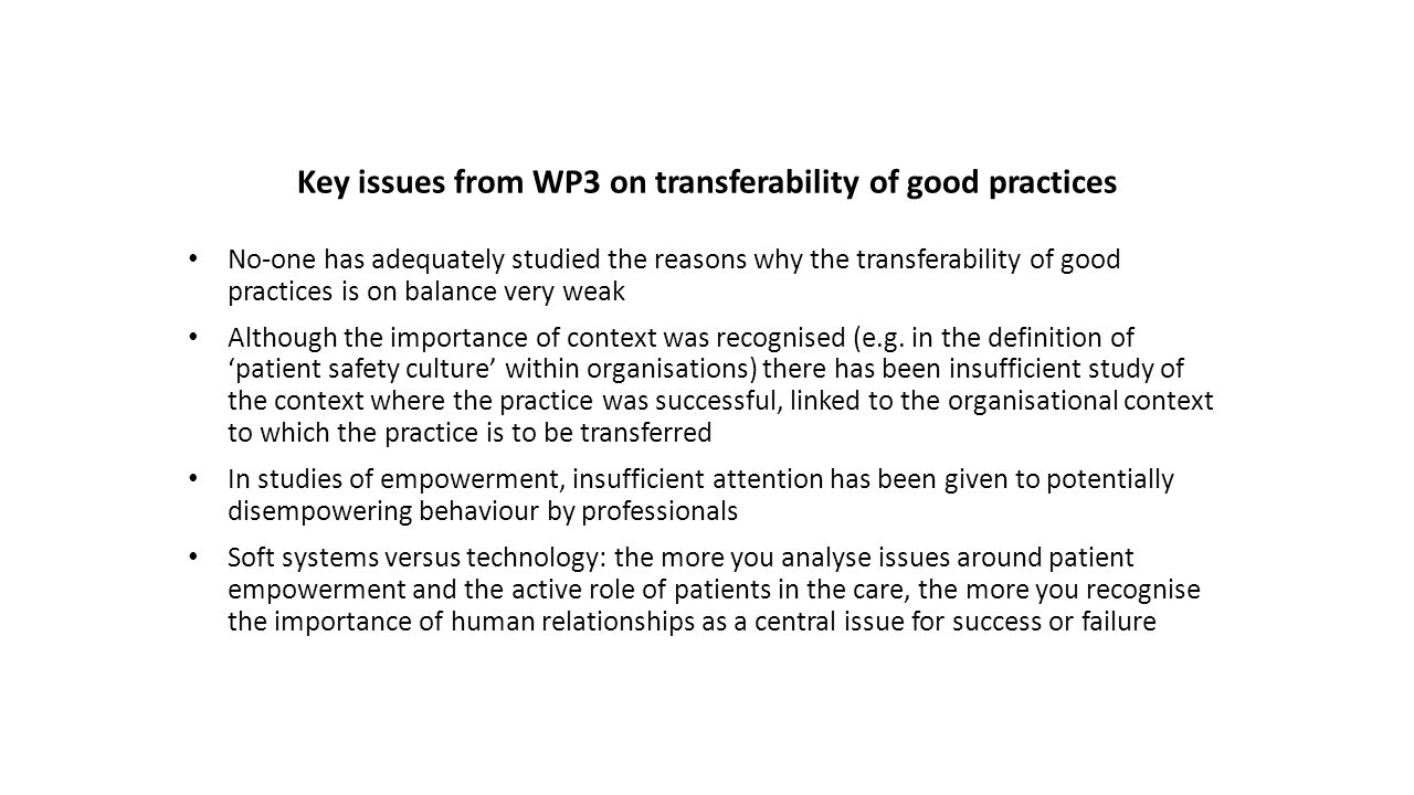 Key issues from WP3 on transferability of good practices