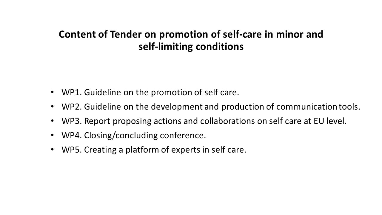 Content of Tender on promotion of self-care in minor and self-limiting conditions