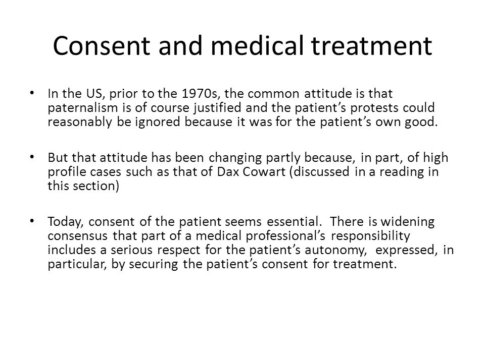 Consent and medical treatment