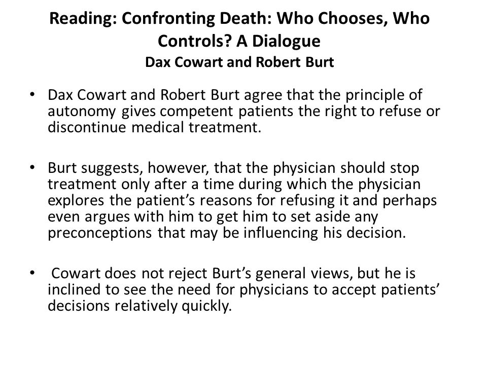 Reading: Confronting Death: Who Chooses, Who Controls
