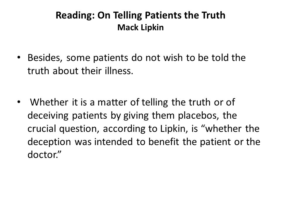 Reading: On Telling Patients the Truth Mack Lipkin