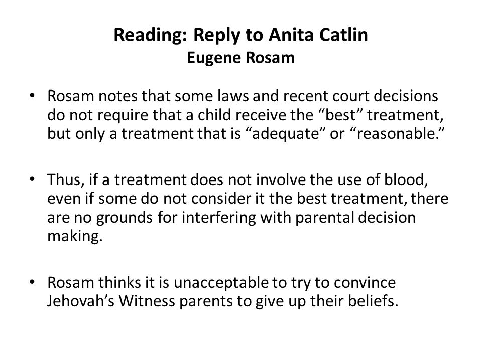 Reading: Reply to Anita Catlin Eugene Rosam