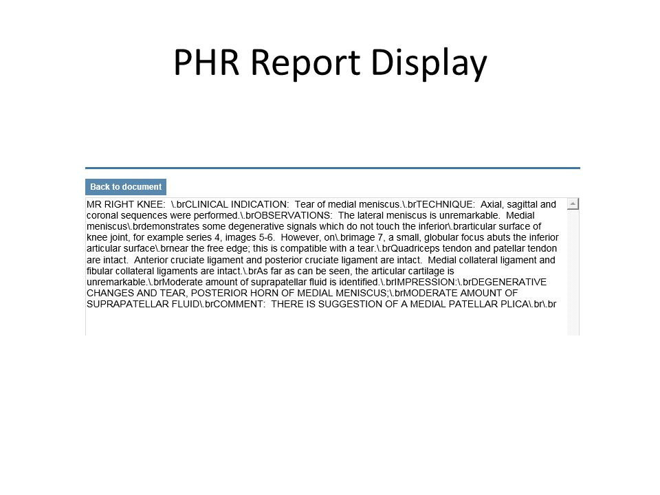 PHR Report Display