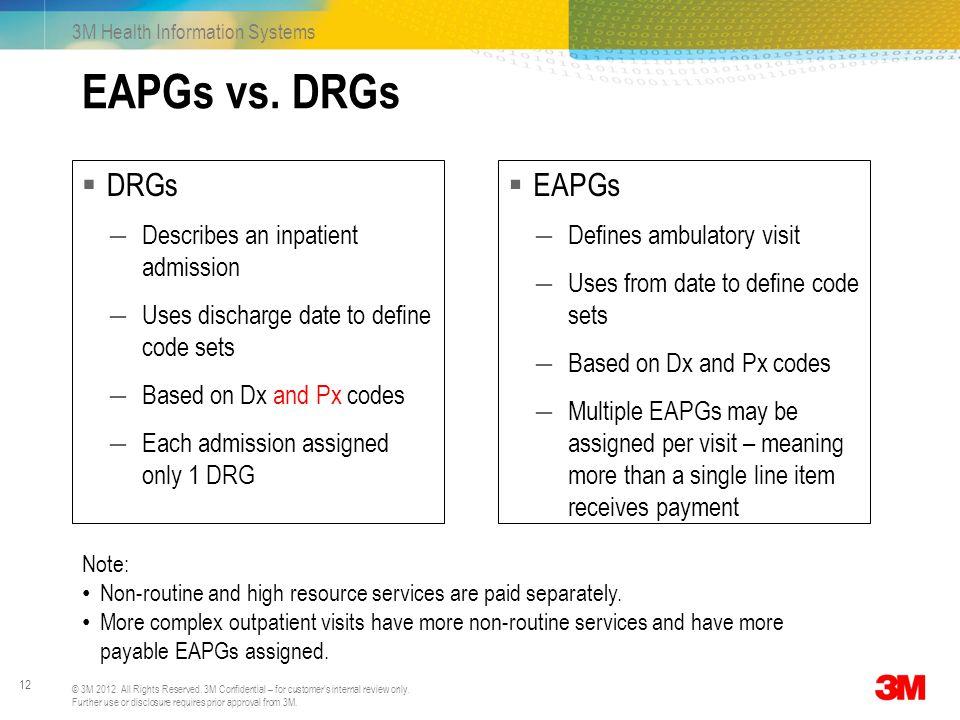 EAPGs vs. DRGs DRGs EAPGs Describes an inpatient admission