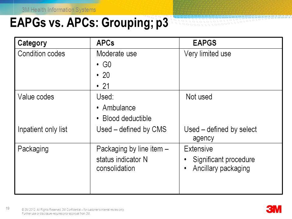 EAPGs vs. APCs: Grouping; p3