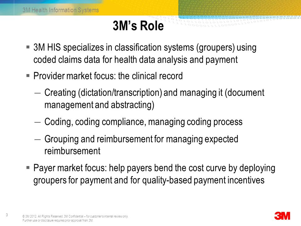 3M's Role 3M HIS specializes in classification systems (groupers) using coded claims data for health data analysis and payment.