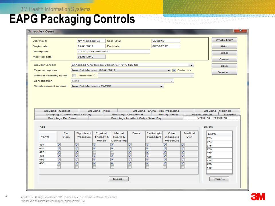 EAPG Packaging Controls