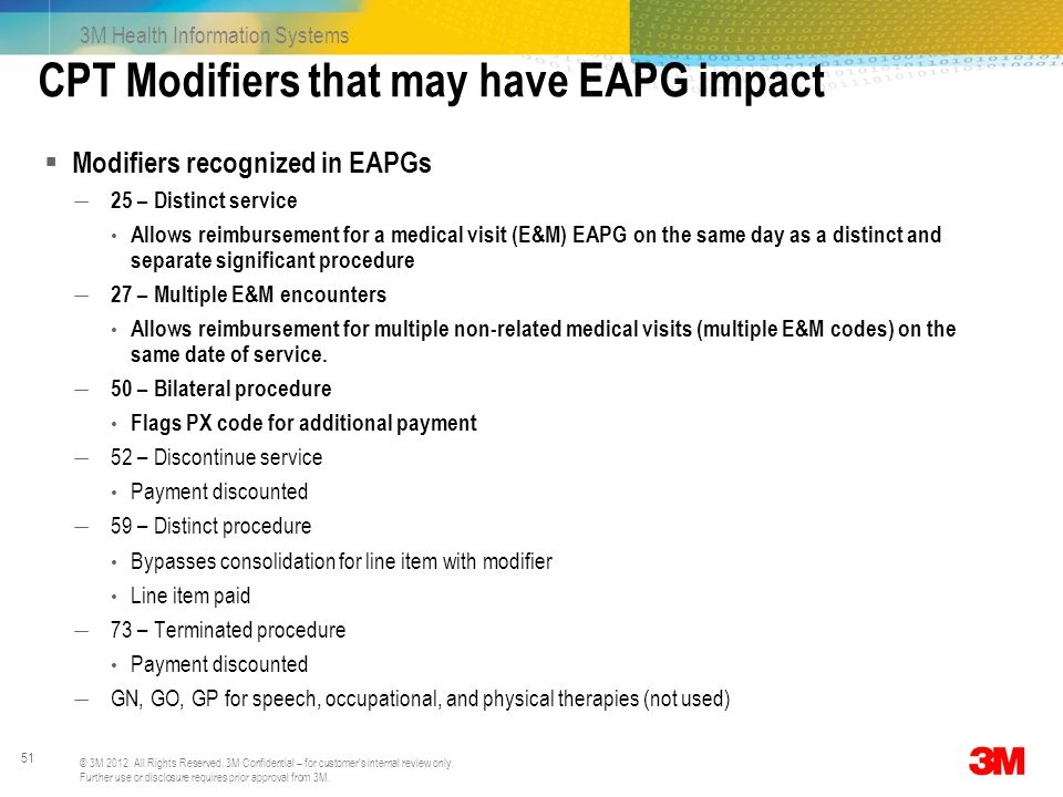 CPT Modifiers that may have EAPG impact