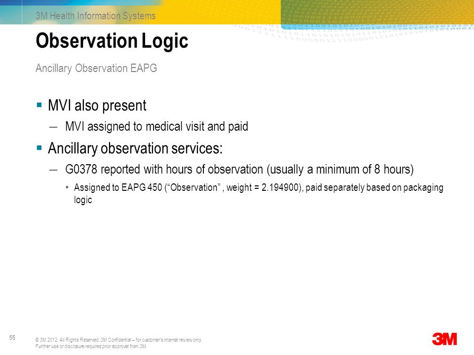 Observation Logic MVI also present Ancillary observation services: