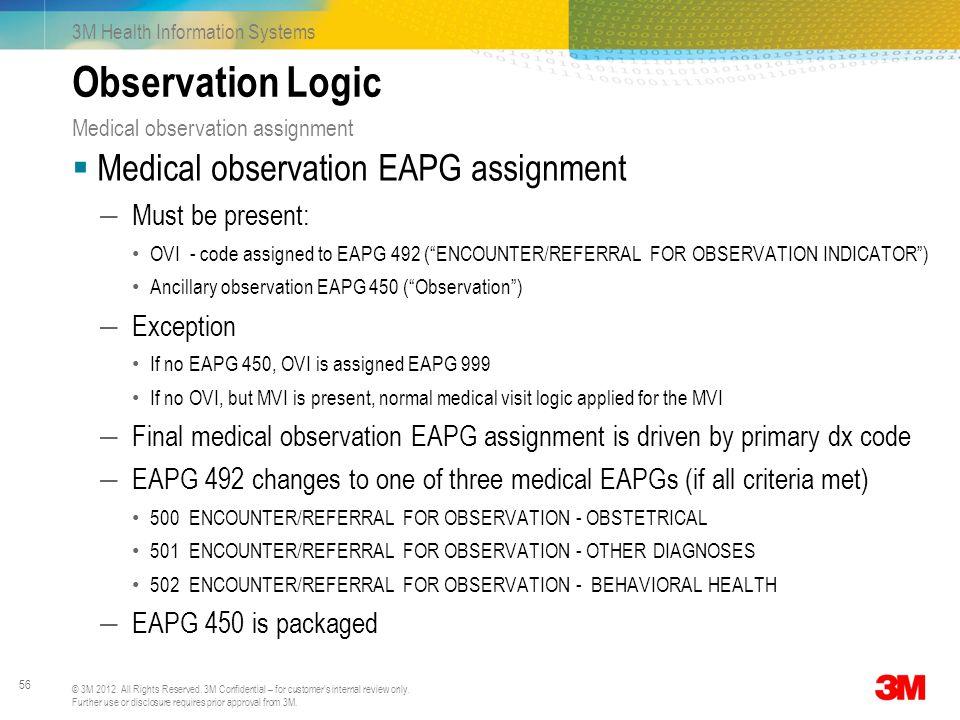 Observation Logic Medical observation EAPG assignment Must be present: