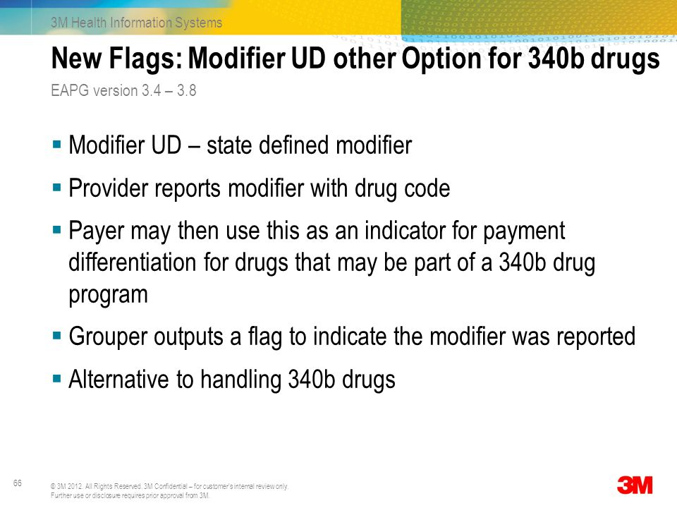 New Flags: Modifier UD other Option for 340b drugs