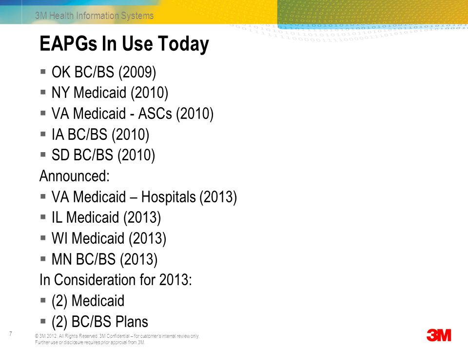 EAPGs In Use Today OK BC/BS (2009) NY Medicaid (2010)