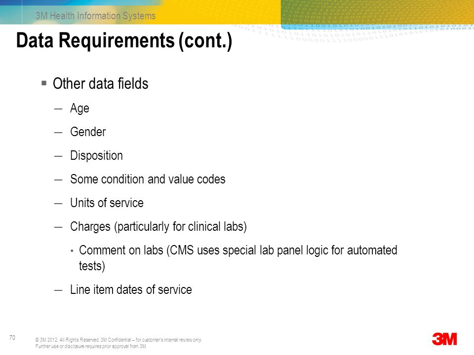 Data Requirements (cont.)