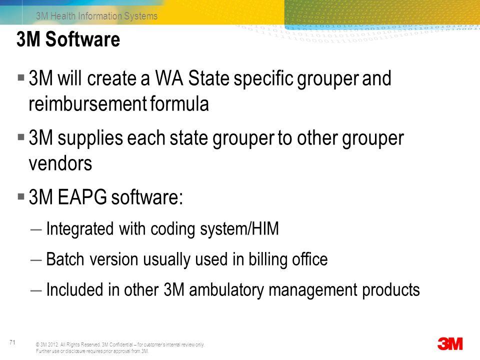 3M will create a WA State specific grouper and reimbursement formula