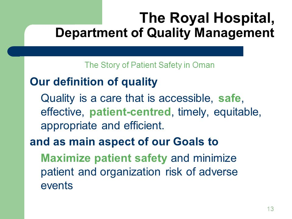 The Royal Hospital, Department of Quality Management1