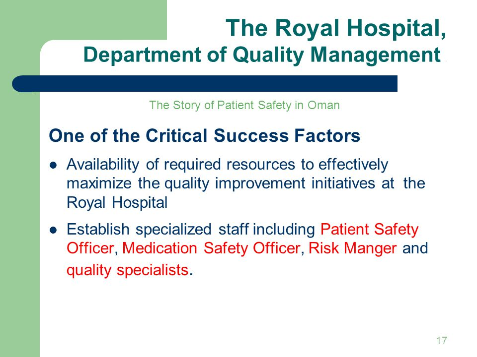 The Royal Hospital, Department of Quality Management 5