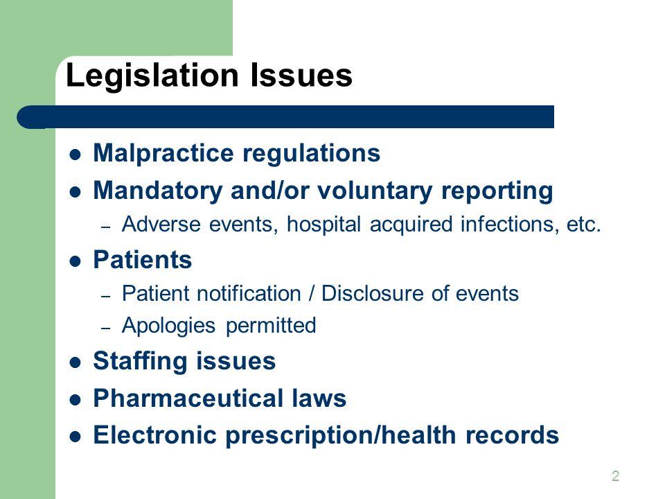 Legislation Issues Malpractice regulations