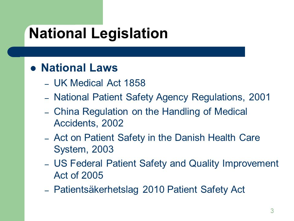 National Legislation National Laws UK Medical Act 1858