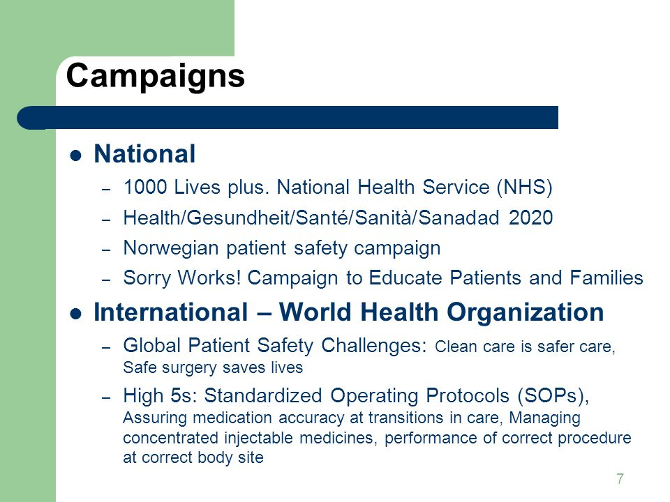 Campaigns National International – World Health Organization