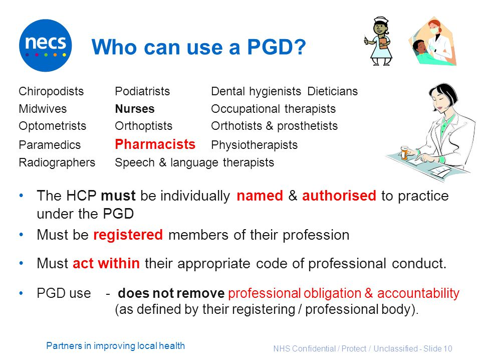 Who can use a PGD Chiropodists Podiatrists Dental hygienists Dieticians. Midwives Nurses Occupational therapists.
