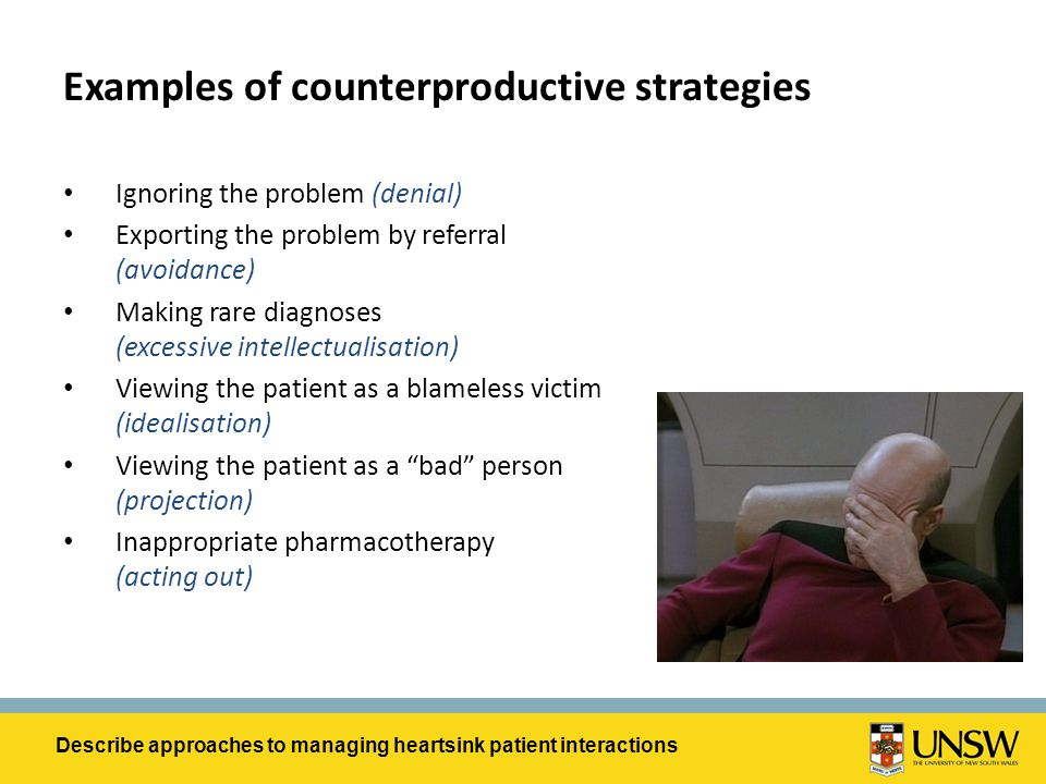 Examples of counterproductive strategies