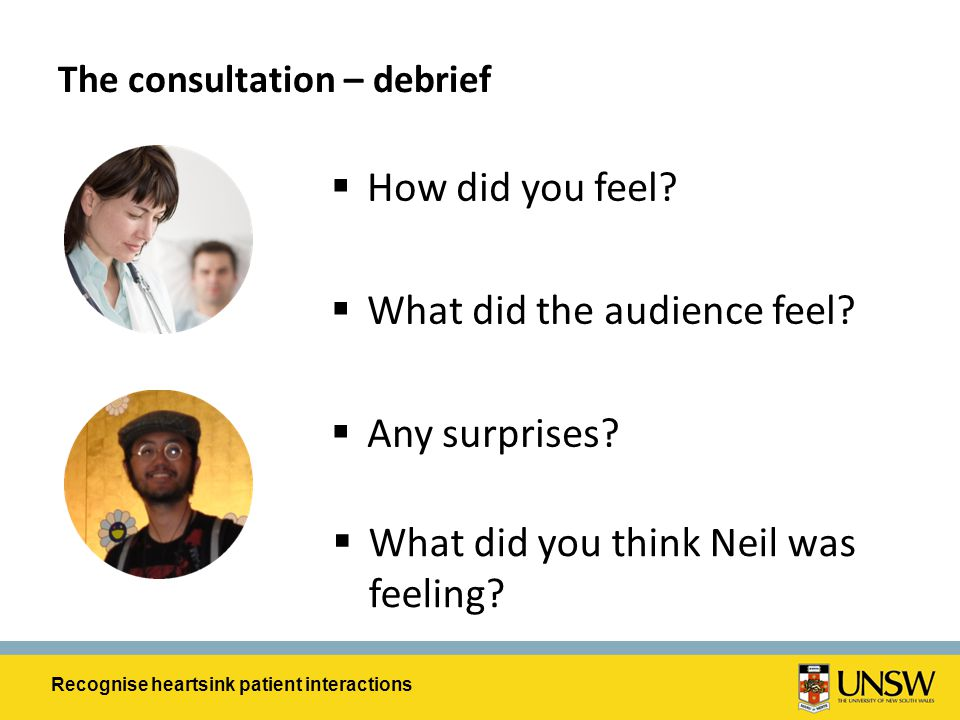 The consultation – debrief