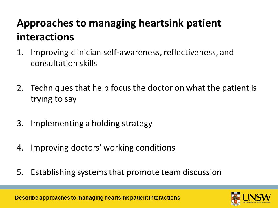 Approaches to managing heartsink patient interactions