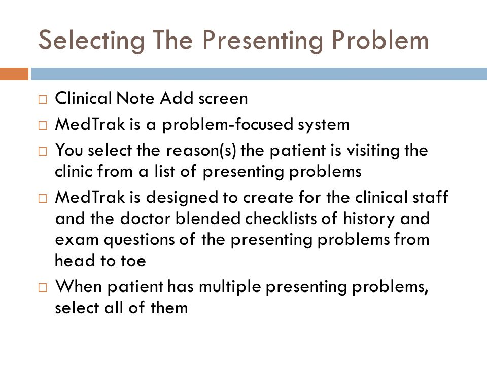 Selecting The Presenting Problem