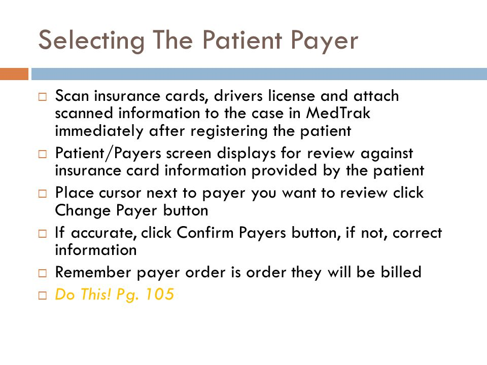 Selecting The Patient Payer