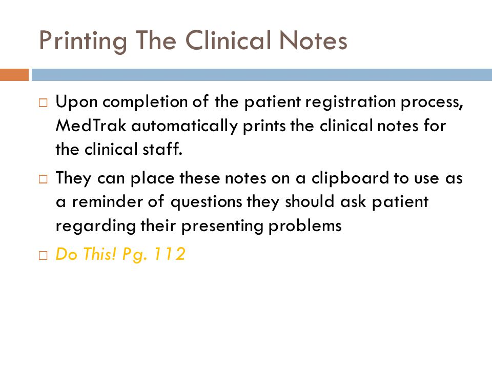 Printing The Clinical Notes