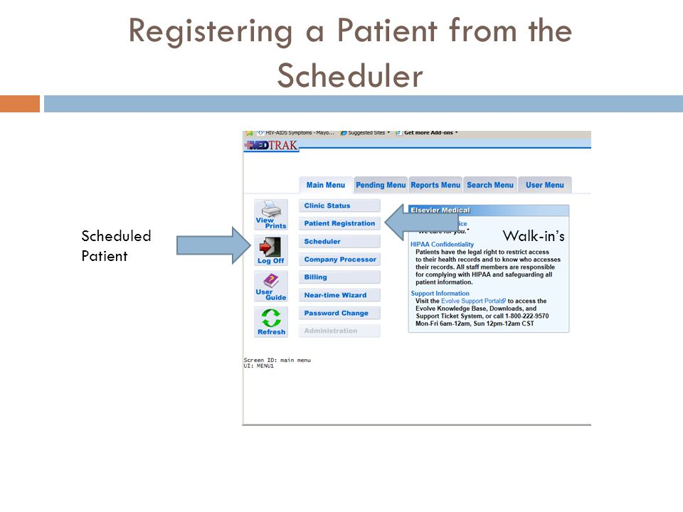 Registering a Patient from the Scheduler