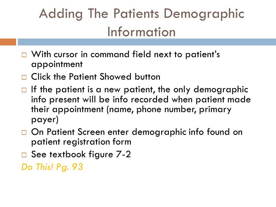 Adding The Patients Demographic Information