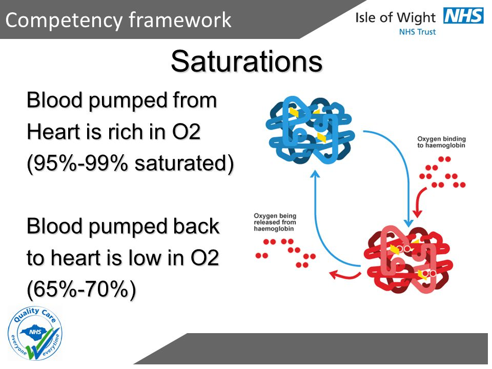 Saturations Competency framework Blood pumped from Heart is rich in O2
