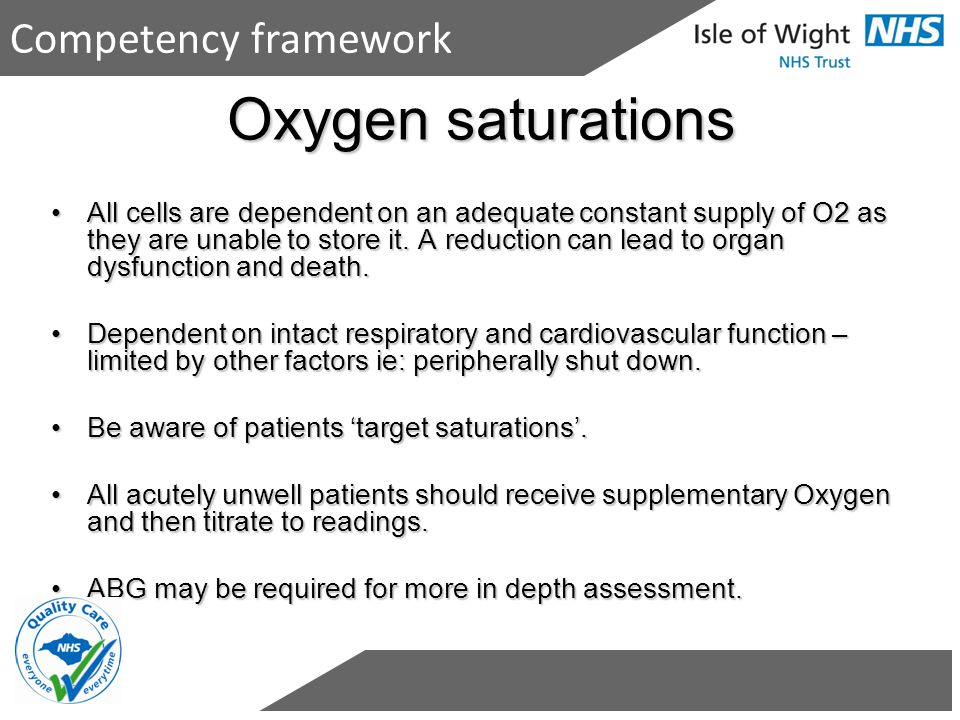 Oxygen saturations Competency framework