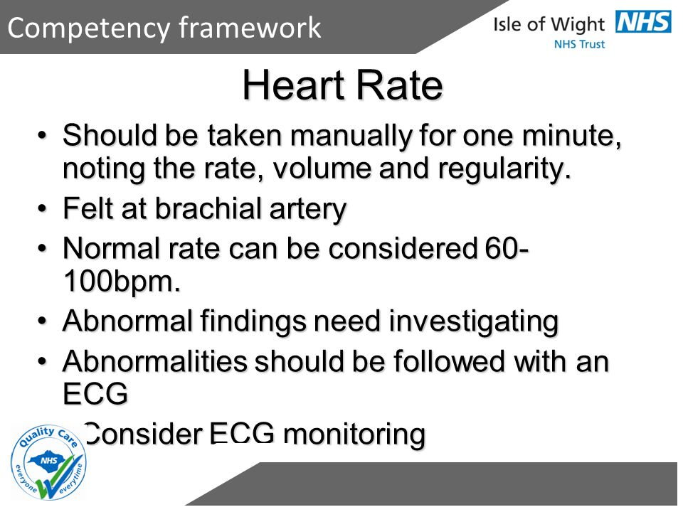 Heart Rate Competency framework