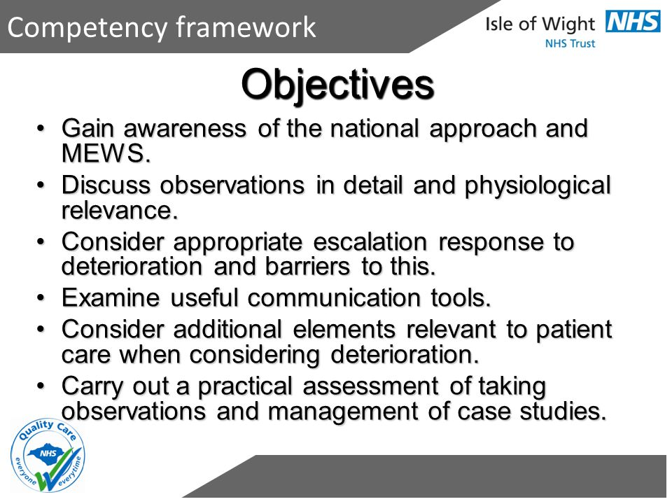 Objectives Competency framework