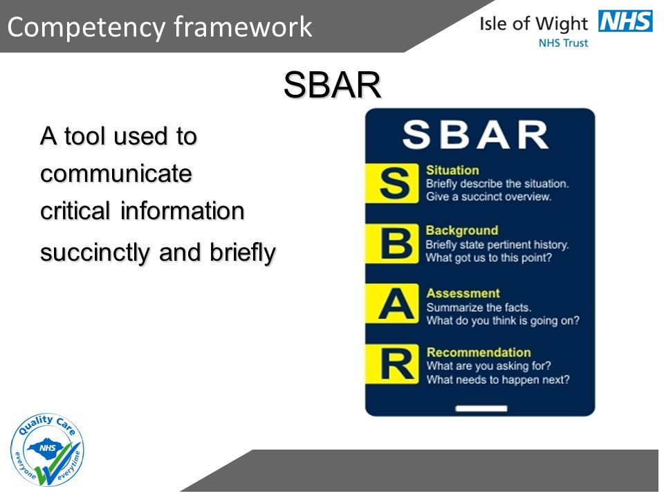 SBAR Competency framework A tool used to communicate