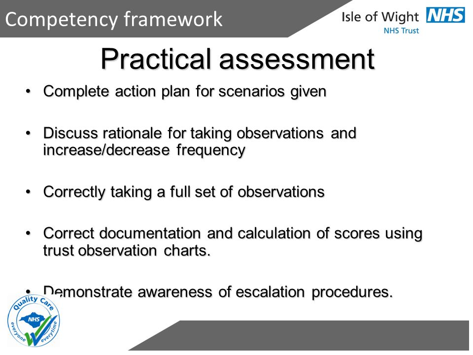 Practical assessment Competency framework