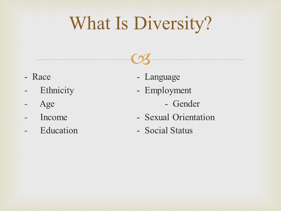 What Is Diversity - Race - Language Ethnicity - Employment