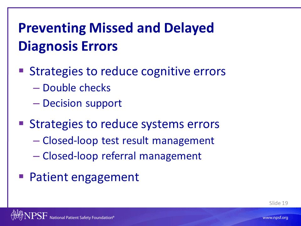 Preventing Missed and Delayed Diagnosis Errors