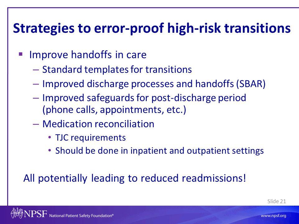 Strategies to error-proof high-risk transitions