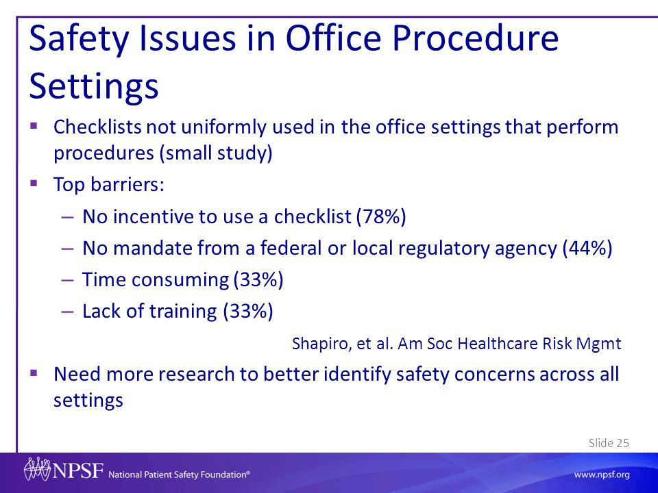 Safety Issues in Office Procedure Settings