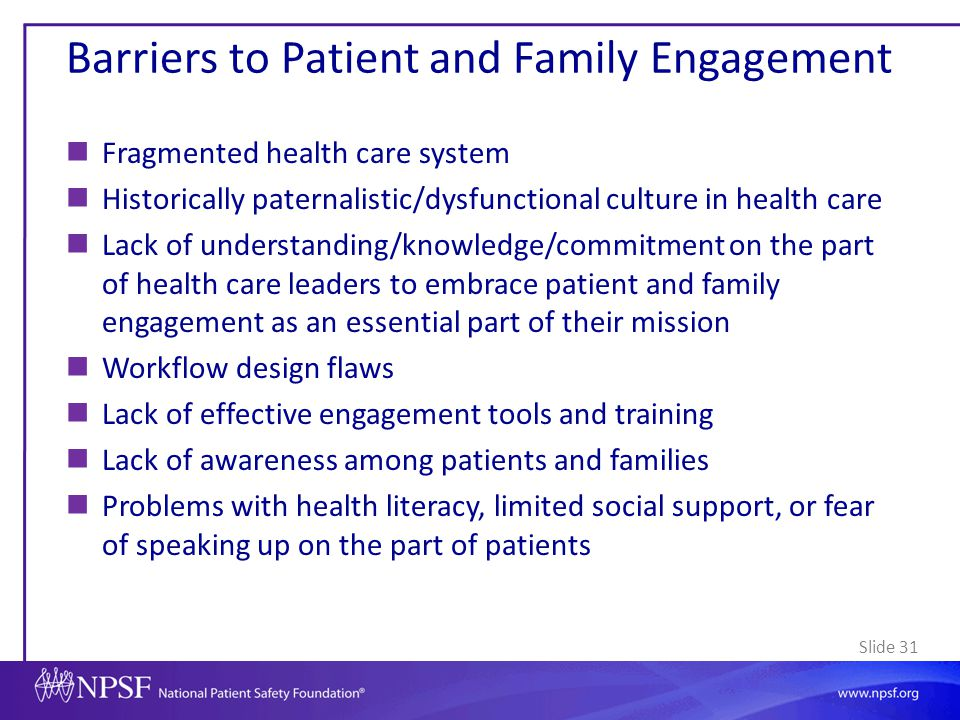 Barriers to Patient and Family Engagement