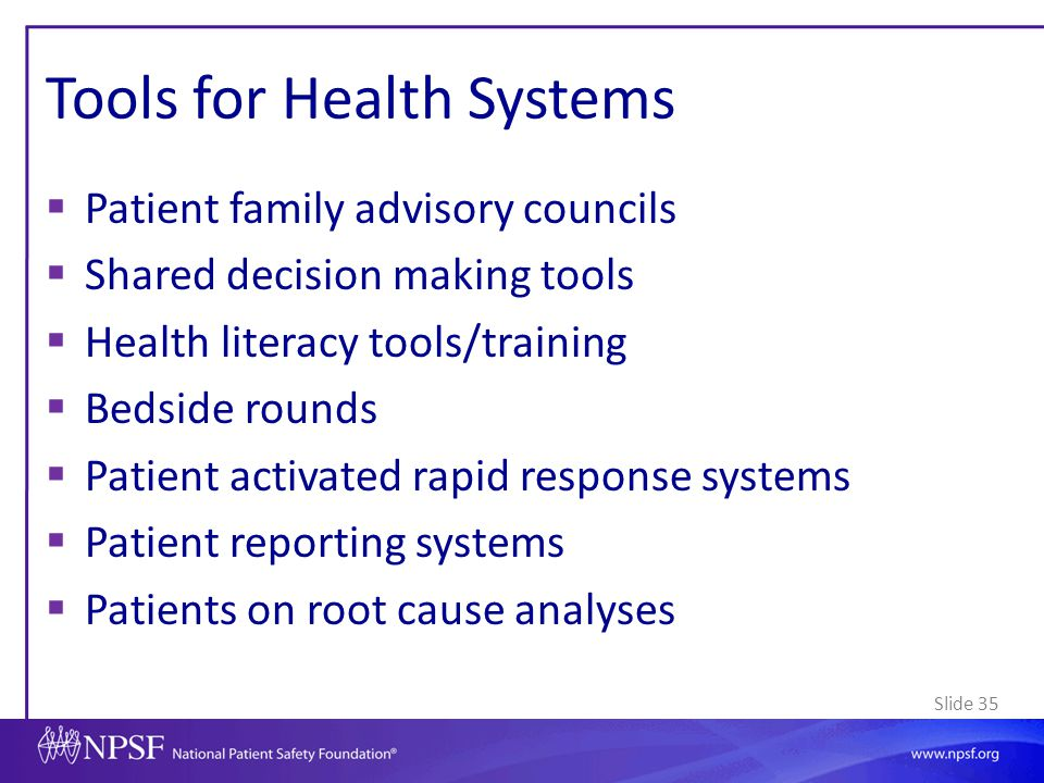 Tools for Health Systems