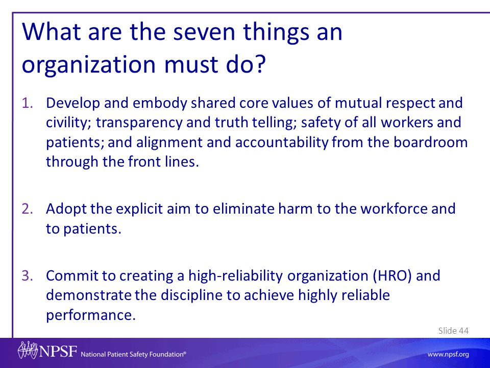 What are the seven things an organization must do