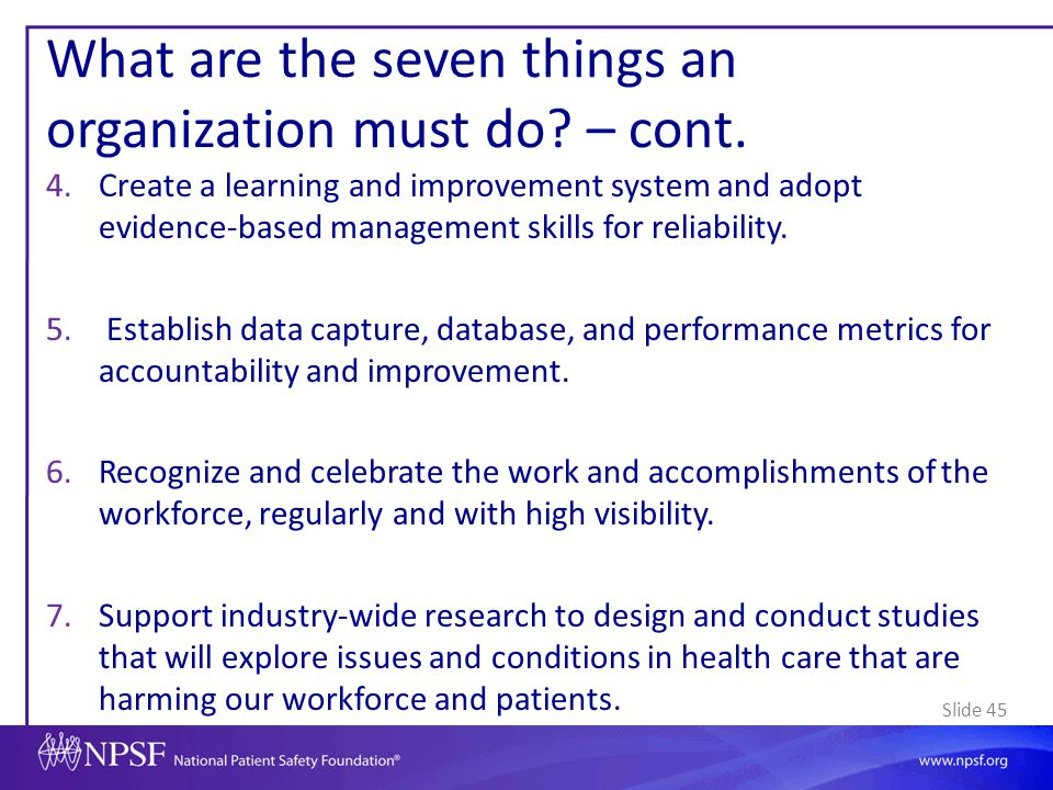 What are the seven things an organization must do – cont.