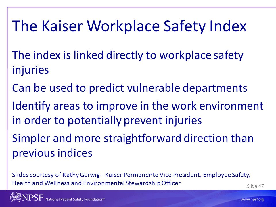 The Kaiser Workplace Safety Index